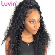 Luvin Curly 250 density Lace Front Human Hair Wigs Deep Wave Remy Hair Short Bob Wigs For Black Women Long Lace Frontal Wig(China)