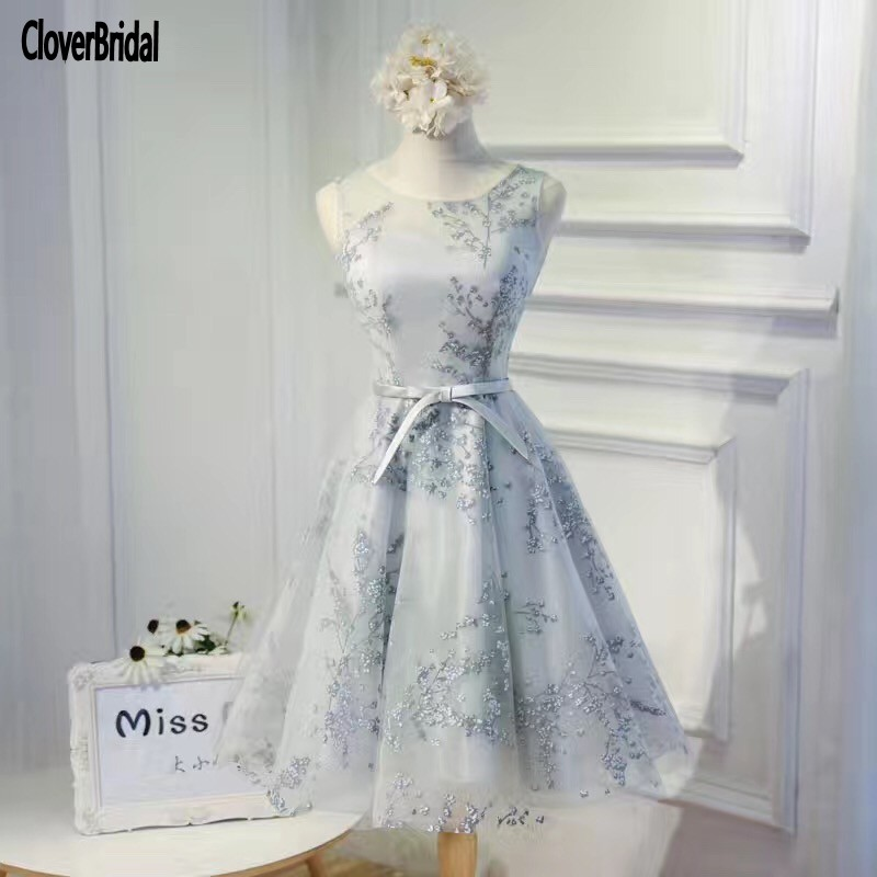 Imported china sleeveless short lace A line grey beautiful cheap dresses 2017 CloverBridal Latest Design