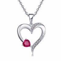 YL 925หัวใจสีเงินสร้อยคองานแต่งงานหมั้นสร้อยคอสำหรับผู้หญิงเครื่องประดับFineด้วยทับทิมหินเพื...