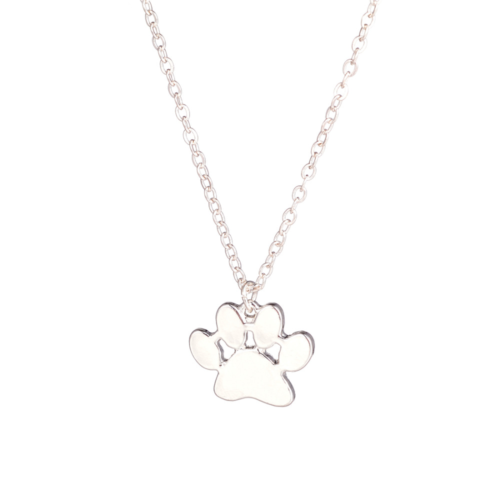 Hot Sale 10pcs Paw Necklace Pawprint Necklace Paw Print Necklace Engraved Pets Name Dog Memorial Gift Christmasfor lovers