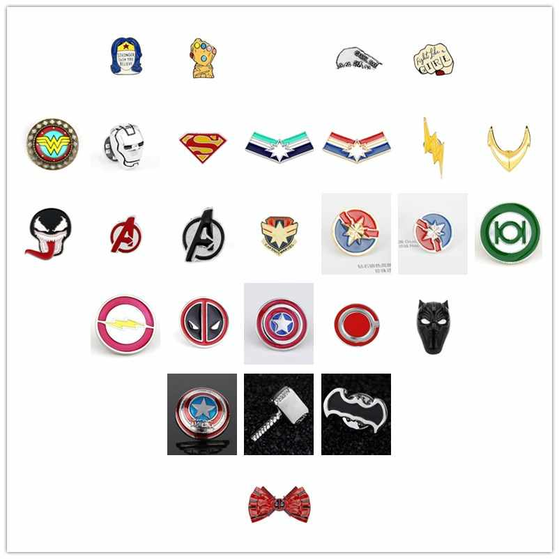 Marvel Avengers Superhero Captain Marvel Captain American Thanos Infinity Gauntle Batman Pin Brooches Badge Cosplay Jewelry Gift