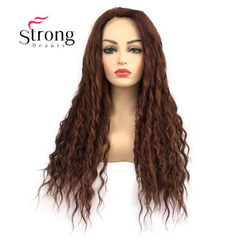 StrongBeauty Lace Front Wig Long Wavy Auburn High Heat Synthetic Wigs