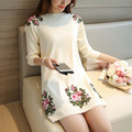 2016 Peony Flower Embroidery Patch Women Sweater And Pullovers O-Neck Women Sweater Dress Pull Femme Women Long Pullovers