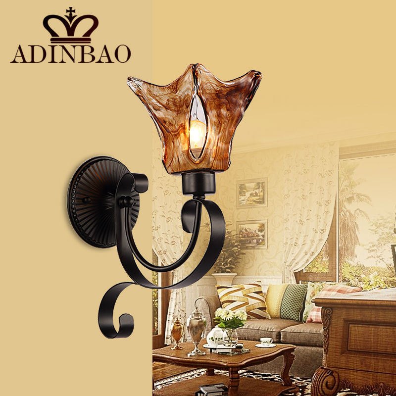 Garden Outdoor Wall Lamp Country Wrought Iron Wall Light Brown Glass ...