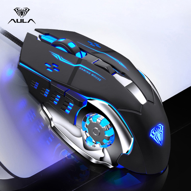 AULA Professional Macro Game Mouse LED Wired Gaming Mouse For PC Computer Laptop Mice Pro Gamer Adjustable 3200 DPI Silent Mause