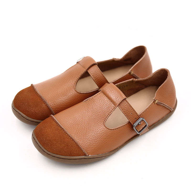 IMTER Shoes Woman Ballet Flats Barefoot Ballerinas Women Genuine Leather Buckle Strap Ladies Flat Shoes Flat Soles  (wr335)