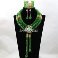 2016 Chunky Nigerian Green Crystal Beads Necklace Set Gold African Costume Indian Bridal Jewelry Sets Free