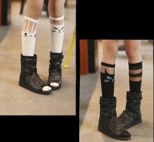 New very fashion spring girls socks graffiti super elastic cotton children knee-socks free size three types