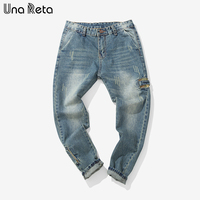 Una Reta Jeans Men Fashion Brand Plus Size Casual Jeans Male 2018 New Blue Washed Jeans