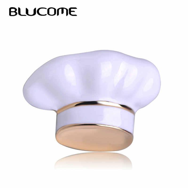 Blucome Nuovo Arrivo Cappello Del Cuoco Unico Spilla a Forma di Smalto Bianco Corpetto da Donna Uomo Bambini Spille Chef Cameriere Spilli Cappelli Accessori Maglione