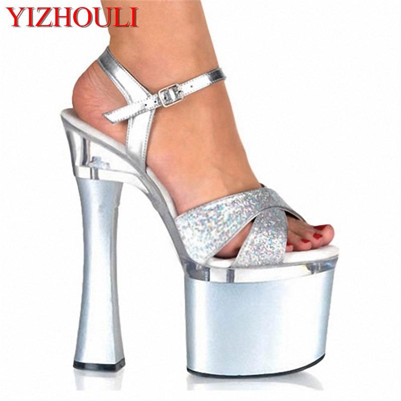 18 cm des chaussures à talons haut chaussures mode stade crystal chaussures sandales,argenté