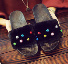Women Slippers Fashion Ladies Sandals Womens Zapatos Mujer Winter Autumn Faux Fur Female Shoes