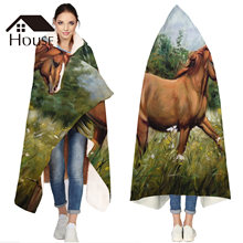 Portable Wearable Fluffy Custom Hooded Blanket Horse Animals Oil Painting Fleece Hooded Throw Blanket(China)