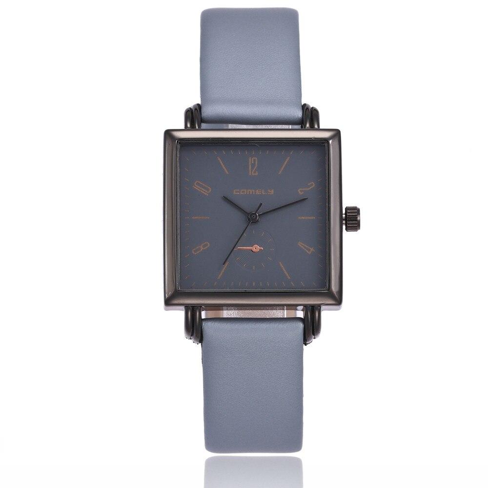 2018 women's watches Fashion Leather Band Analog Quartz Square Wrist Watch Watches relogio feminino saat Watches for women O26 2