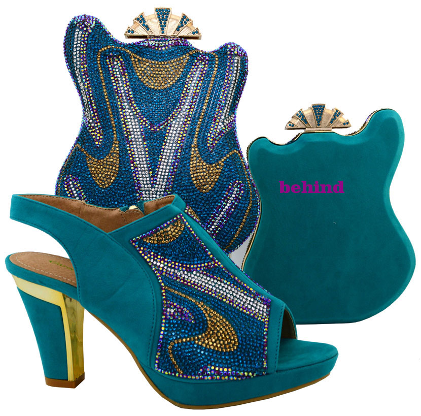 Teal Color Italian Matching Shoe and Bag Set Women Shoe ...