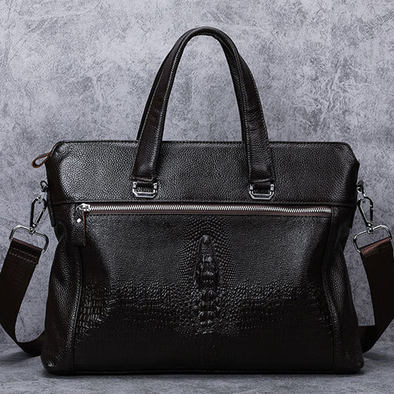 Business Genuine Leather Briefcase Men Laptop Bags For 14 inch Office Handbags Fashion Crocodile Messenger Shoulder Bag bolsa new business genuine leather briefcase men messenger bags for men office handbags laptop package shoulder crossbody bag bolsa