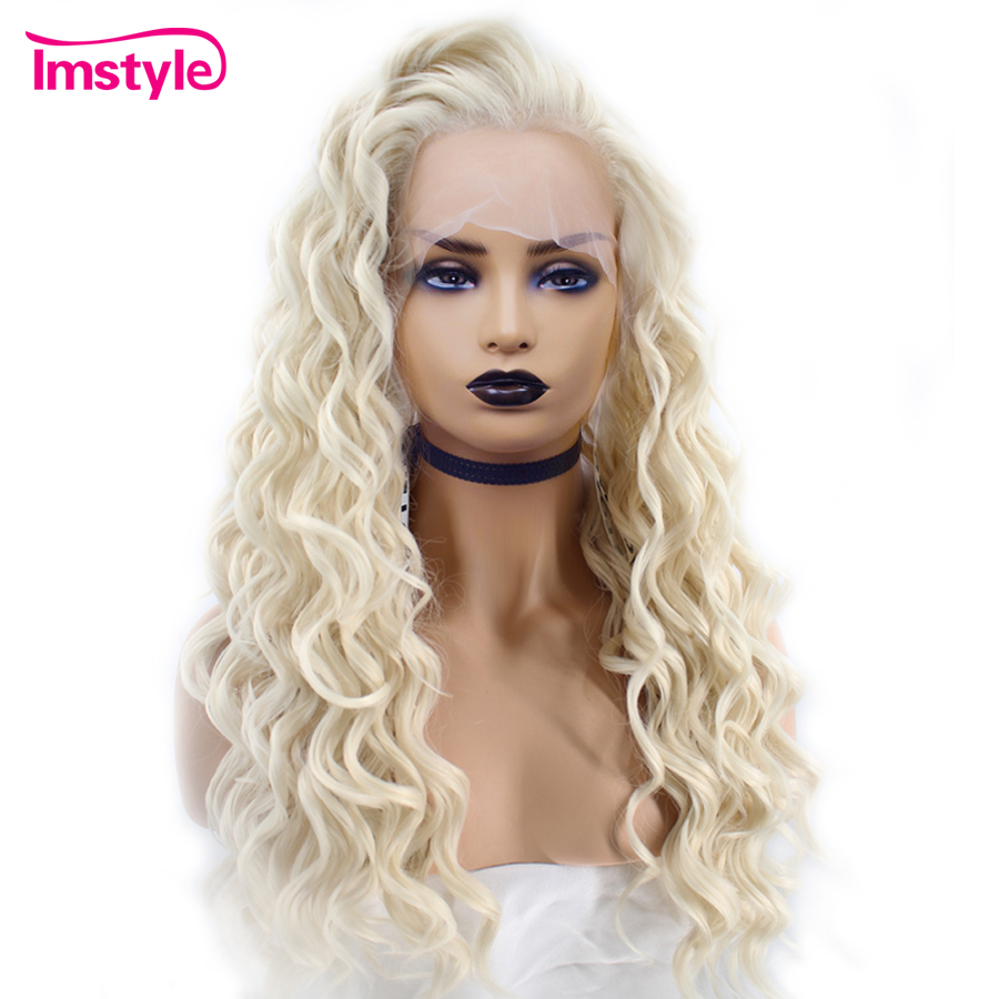 Imstyle Long Deep Wave Platinum Blonde Wigs Heat Resistant Fiber Synthetic Hair Lace Front Wig For