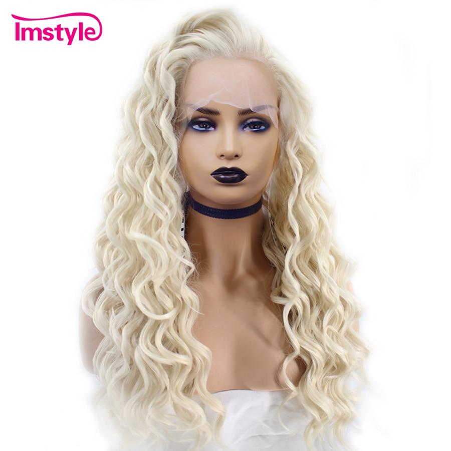 Perruques Blonde platine longue vague profonde Imstyle fibre synthétique résistante à la chaleur perruque avant en dentelle pour femmes perruque en dentelle naturelle 26