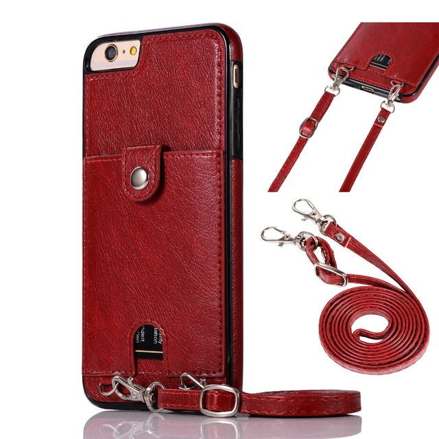 Haissky Vintage PU Leather Back Case for iPhone Xs Max XR X Wallet Card Case for iPhone 6 6S 7 8 Plus Case With Strap