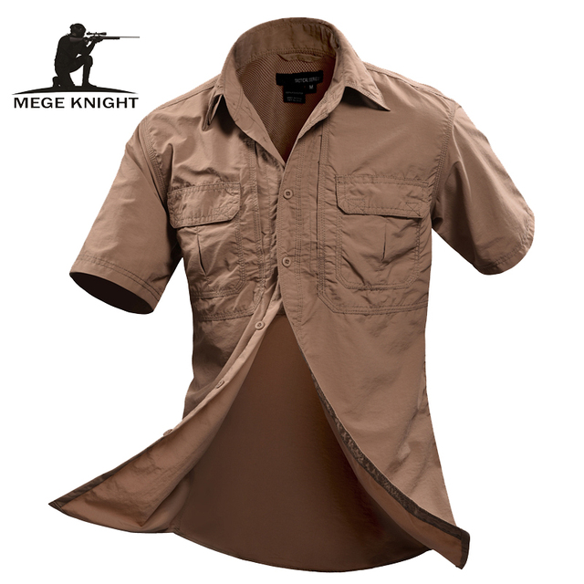 MEGE Summer Men Shirt Military Men Short Sleeve Shirt Casual Shirt Mens Brand Social Clothing Chemise Homme Camisa Masculina 2XL