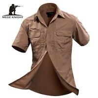 MEGE Summer Men Shirt Military Men Short Sleeve Shirt Casual Shirt Mens Brand Social Clothing Chemise