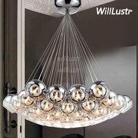 Modern LED Crystal Glass Ball Pendant Light Loft Staircase Hotel Hall Semi Sliver Glass Globe Multi Head Cluster Hanging Lamp