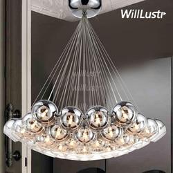 Nowoczesny kryształ LED szkło wiszące lampa w kształcie kuli Loft schody Hotel Hall Semi Sliver szklana kula Multi Head Cluster wiszące lampy