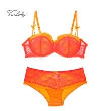 Varsbaby women's sexy lace underwear large size gather lingerie underwire lace orange plus size bra set