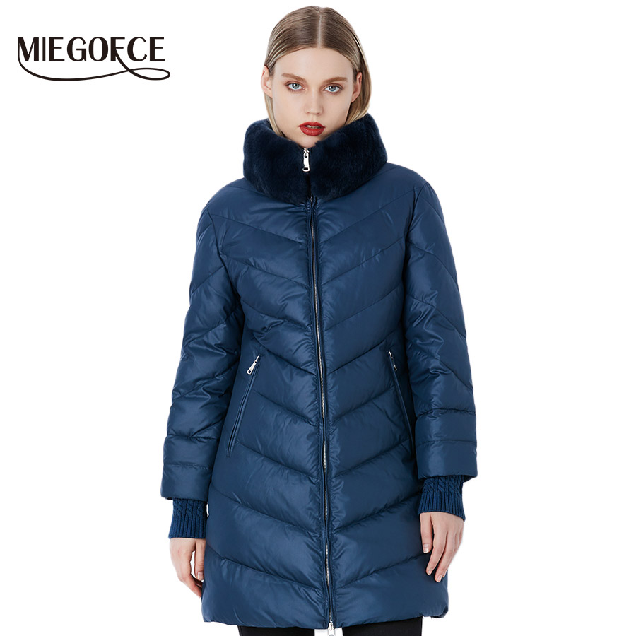 MIEGOFCE 2018 Winter Women's   Parka   Collection Windproof Women's Thick Coat European Style Rabbit Fur Collar Women's Warm Jacket