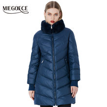 MIEGOFCE 2019 Winter Women's Parka Collection Windproof Women's Thick Coat European Style Rabbit Fur Collar Women's Warm Jacket(China)