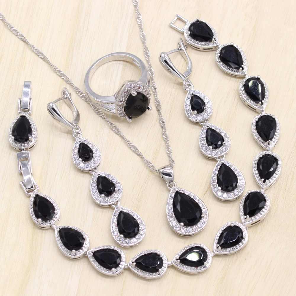 Black Cubic Zirconia 925 Sterling Silver Women Jewelry Set Ring Size 6/7/8/9/10 Pendant Bracelet Earring Free Gift Box