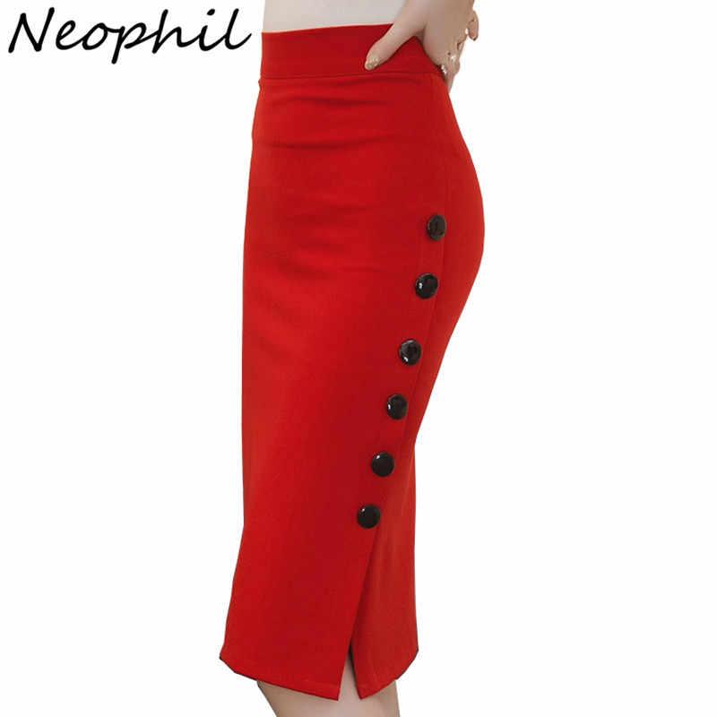 Neophil 2019 de talla grande 5XL mujeres moda Midi lápiz faldas elegante Botton dividido señoras Oficina Sexy negro Delgado falda básica S1812