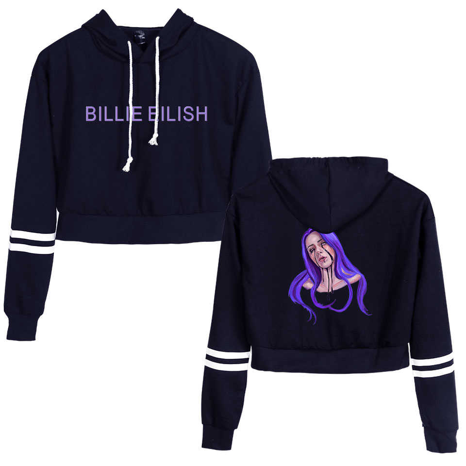 Fashion Street Bodycon Pullovers Sweatshirt BILIE EILISH Hip Hop Casual Popular cute cool Kpop Sports Navel Hoodies Sweatshirt