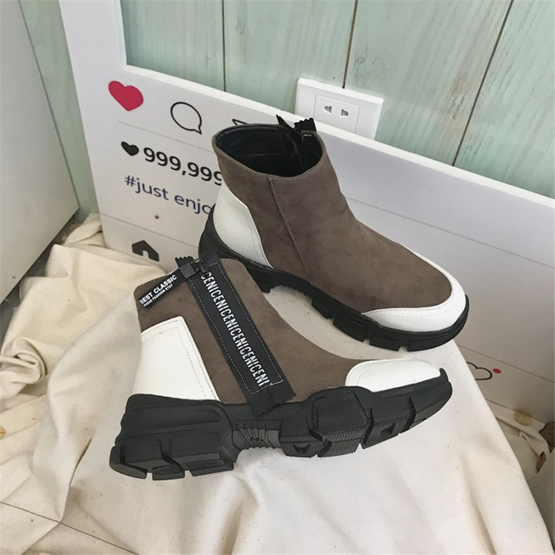 COOTELILI Women Ankle Boots Heels Flock Platform Boots Faux Suede Casual Shoes Woman Pumps Zipper Ladies Sneakers Black цена