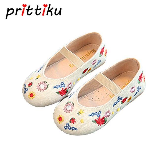 Mocasines de muchacha, calzado lona para infantiles estilo casual floral.