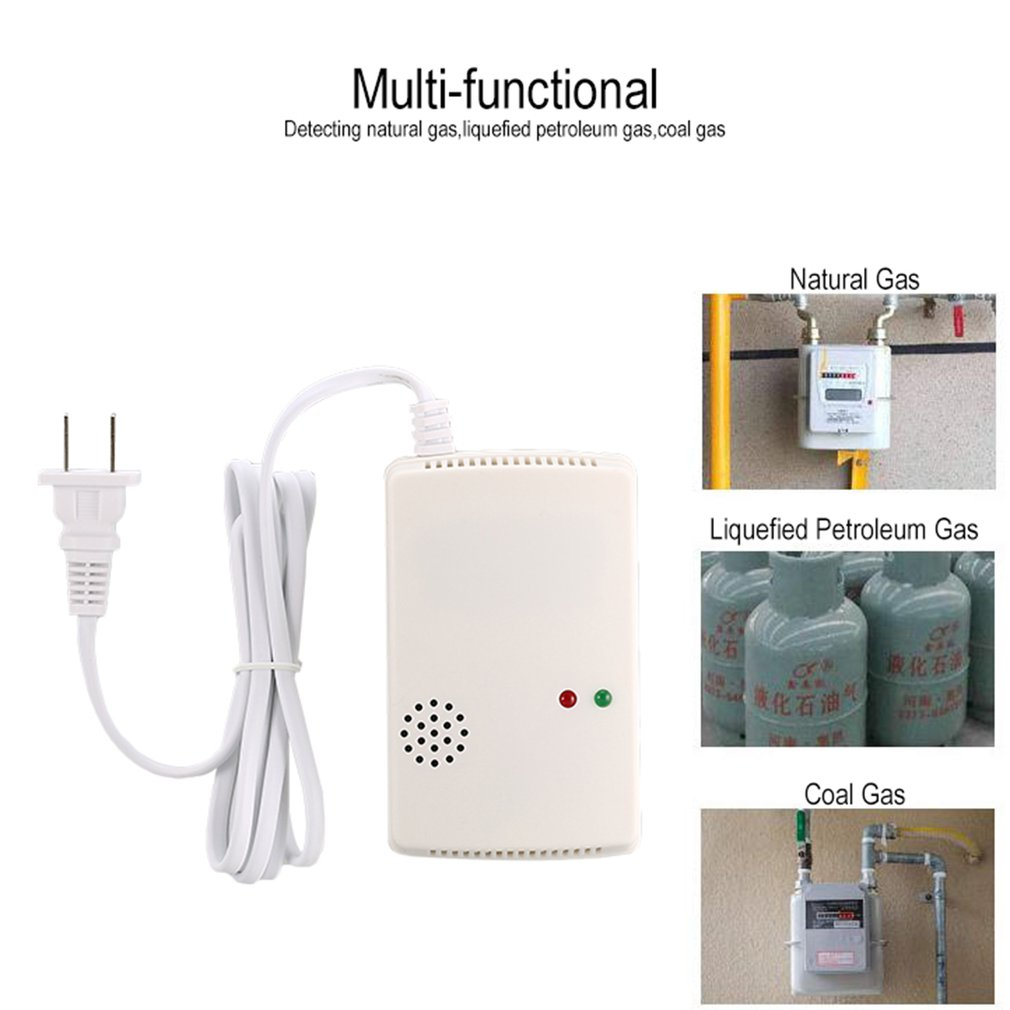 Combustible Gas Alarm Detector Monitor Natural LPG LNG Leak Sensor Sound Light Warning Home Security Fire Protection US Plug
