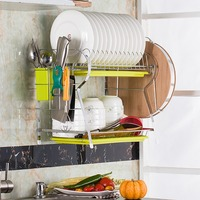 Desk / Wall mounted R Shaped Dish Drainer Drying Rack Kitchen 2 Tier Stainless Steel Drainer Holder Dish Rack With Drainboard