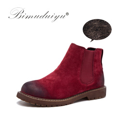 BIMUDUIYU Brand High Quality Women Boots Fashion Suede Leather Plush Fur Warm Winter Ankle Boots Slip on Shoes Woman Plus Size 2