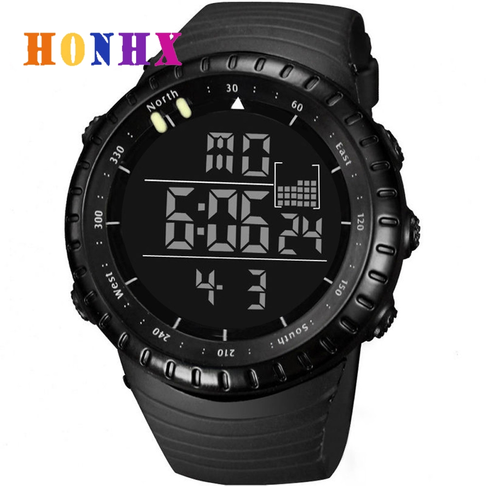 New Men Watch Alarm LED Digital Date Sport Watch Mens Quartz Wristwatch Silicone Waterproof Male Sports Military Digital Watch 2016 new price drop silicone watch women chain watch band high quality wristwatch personality digital diamonds quartz watch new