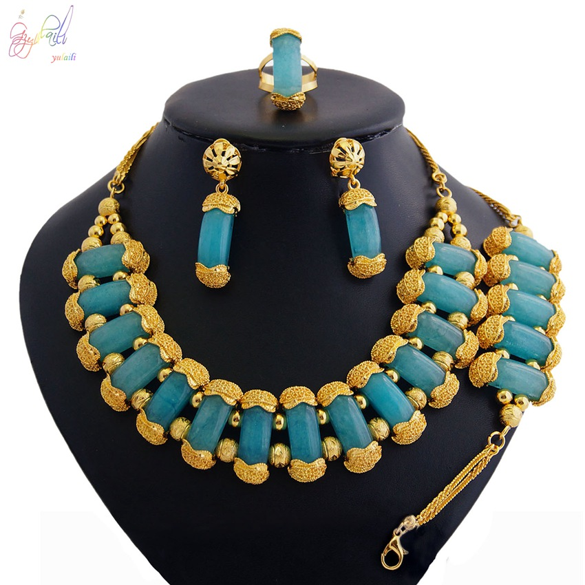 YULAILI New Pure Gold Color Jewelry Sets for Women Fashion Blue Circles Natural-Agates Stone Necklace Complete SetYULAILI New Pure Gold Color Jewelry Sets for Women Fashion Blue Circles Natural-Agates Stone Necklace Complete Set
