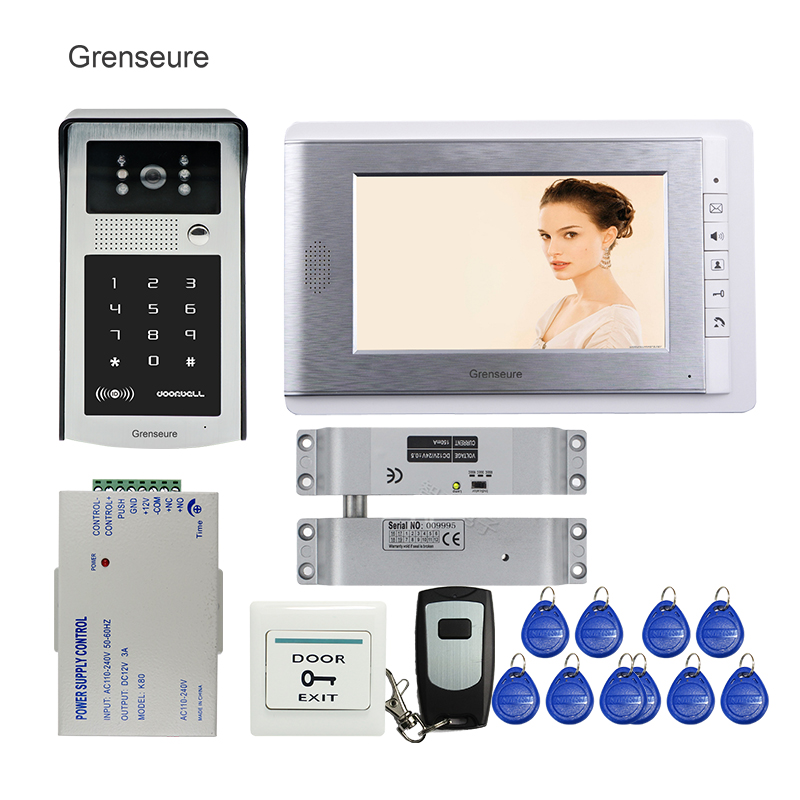 FREE SHIPPING 7 TFT Monitor Video Door Phone Intercom System RFID Keypad Code Touch Doorbell Camera + Electric Drop Bolt Lock free shipping wire 7 lcd monitor video intercom door phone kit waterproof rfid code keypad doorbell camera magnetic lock