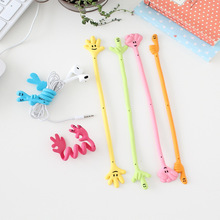 10pcs/lot Good Gifts Finger Expression Bending Strip Earphone Cable Wire Cord Organizer Holder Winder For Headphone Wire Storage