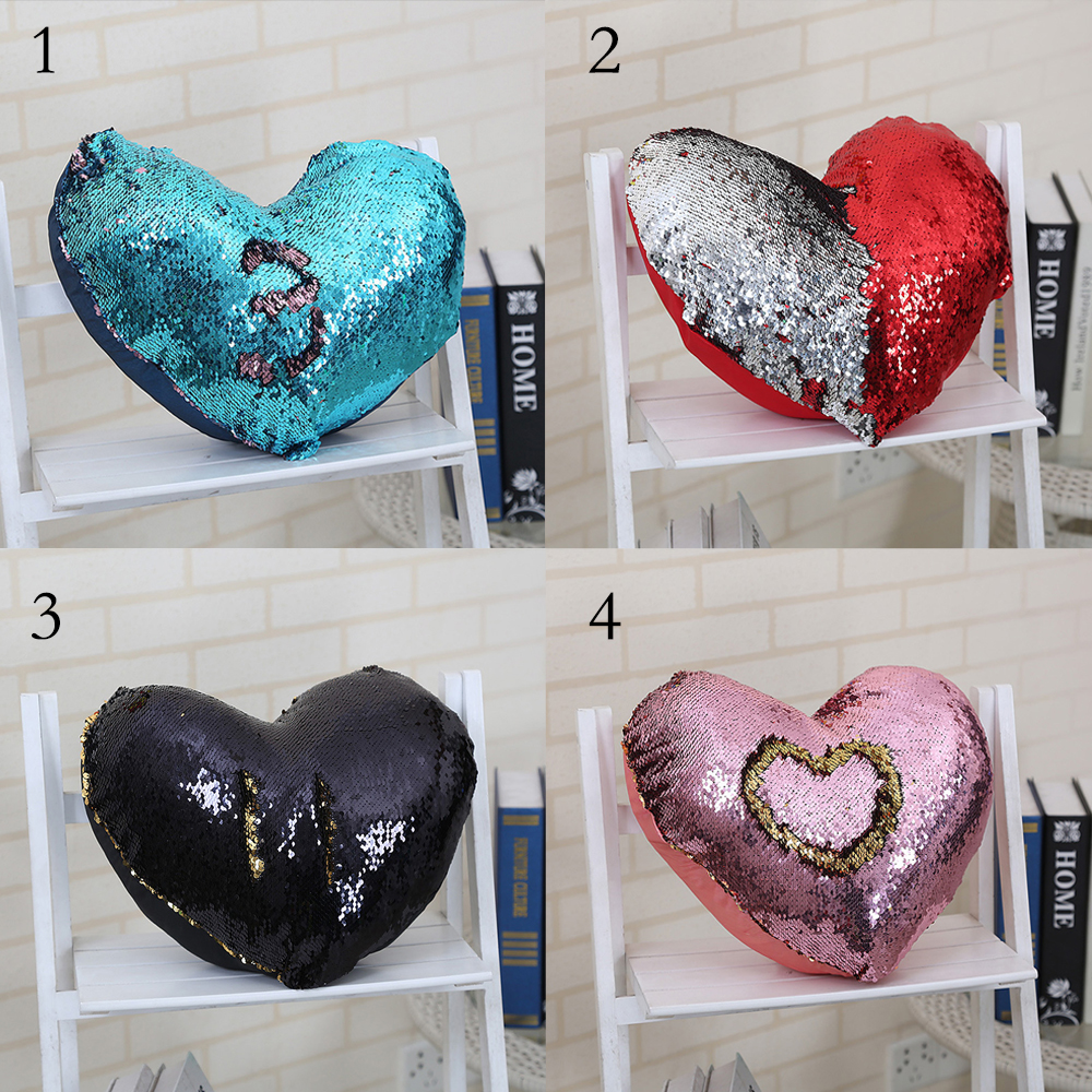 Hot DIY Decorative PillowCases gift 14x16 Inches Reversible Sequin Mermaid Pillowcase Changing Colors lOVE Shaped Cushions cover-in Pillow Case from Home ... & Hot DIY Decorative PillowCases gift 14x16 Inches Reversible Sequin ... pillowsntoast.com
