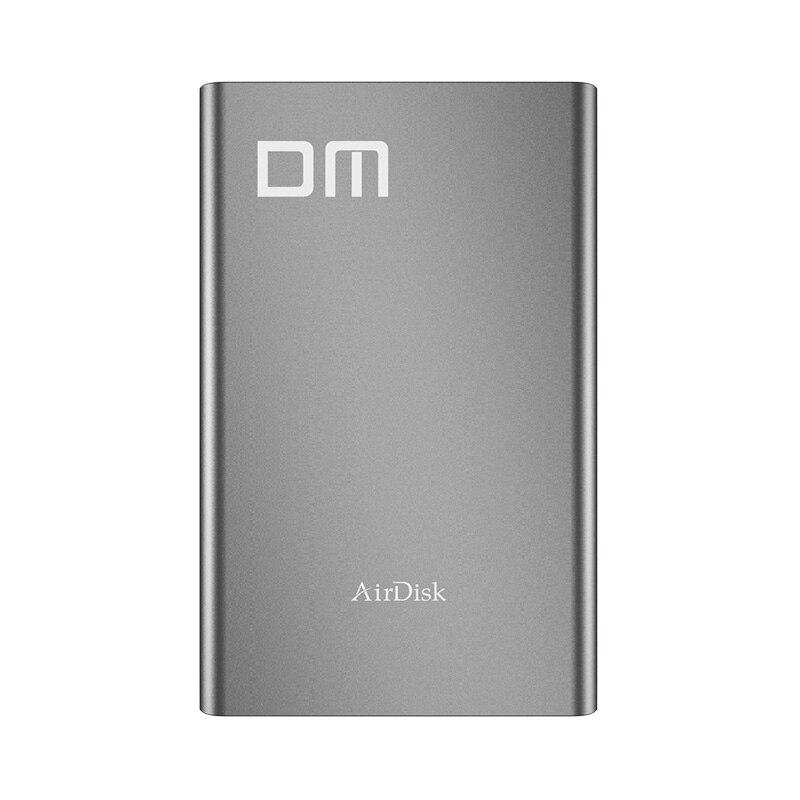 DM T2 Sans Fil WiFi Portable Hard Disk Drive Enclosure USB3.0 à SATA pour 2.5 pouce HDD SSD Foncé Gris Couleur Design De Mode