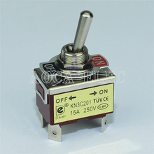 цена на 20PCS KN3C-201P 250VAC 15A ON-OFF 2 Position DPST 4 Pin Toggle Switch Medium 12MM PC Terminal