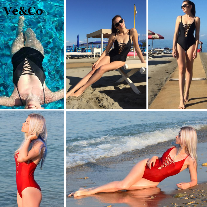 One Piece Swimsuit 2018 Summer Swim Wear Vintage Beach Wear Bandage Monokini Swimsuit Sexy Swimwear Women Bodysuit Bathing Suit 5