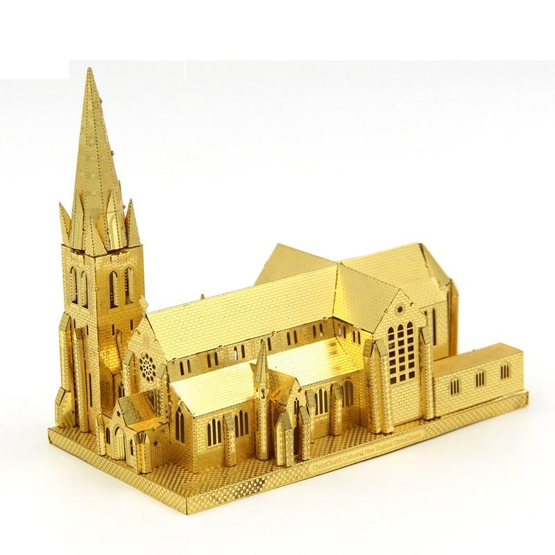 Microworld 3D Metal Puzzle Christchurch Katedrali Mimari Yapı Modeli J006-G Denetim Için DIY 3D Lazer Kesim Oyuncaklar Monte