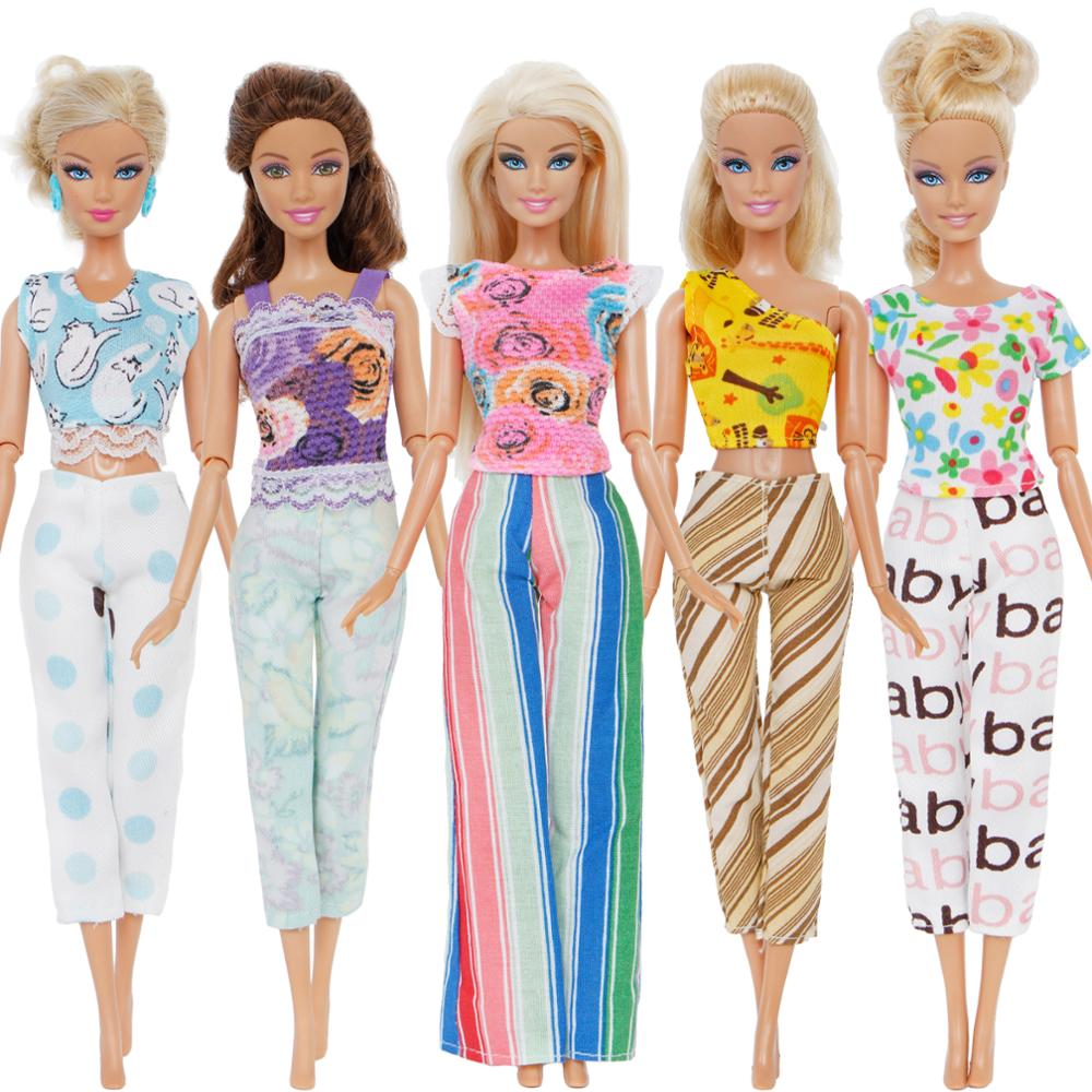 Handmade 5 Pcs/Lot Colourful Outfits Casual Wear Mixed Style Blouse Pants Trousers Clothes For Barbie Doll Accessories Girls Toy