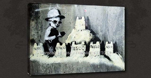 Banksy On Canvas Tesco Baby Graffiti Street Art Oil Paintings Wall Picture Tuscan Landscape
