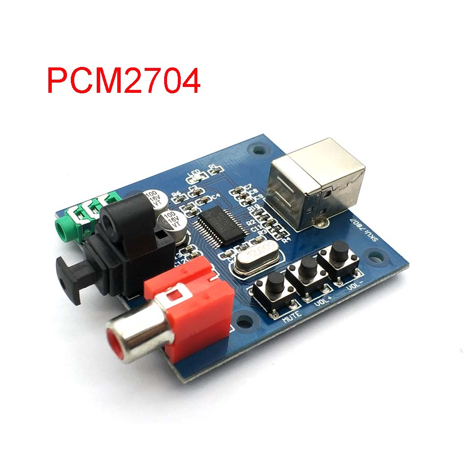 PCM2704 USB DAC To S/PDIF Sound Card Decoder Board 3.5mm Output F/PC 2 Channel Analog Output
